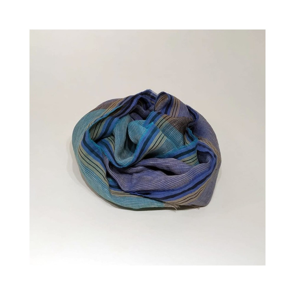 STRIPED SCARF Blue/Turquoise