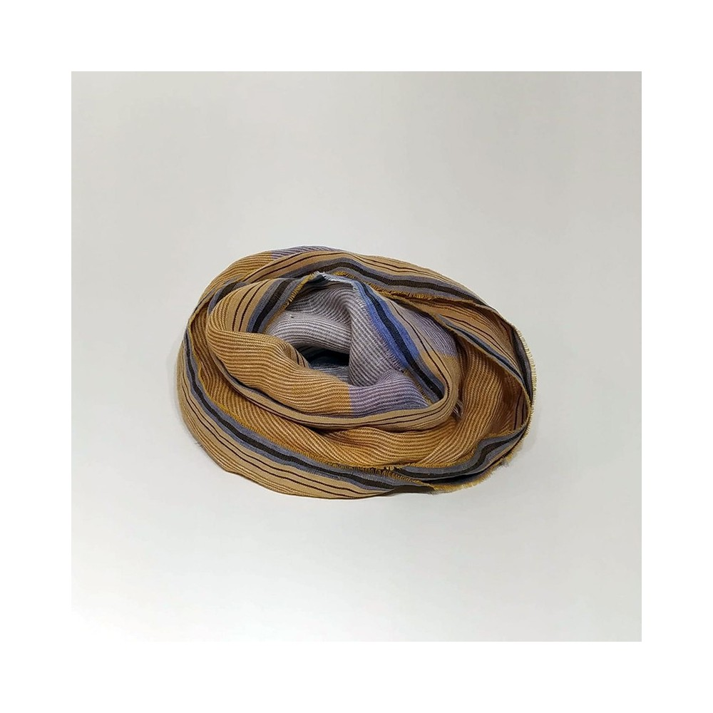 STRIPED SCARF Curry/Beige