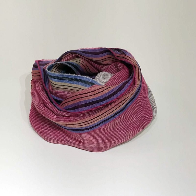 STRIPED SCARF Pink/Beige