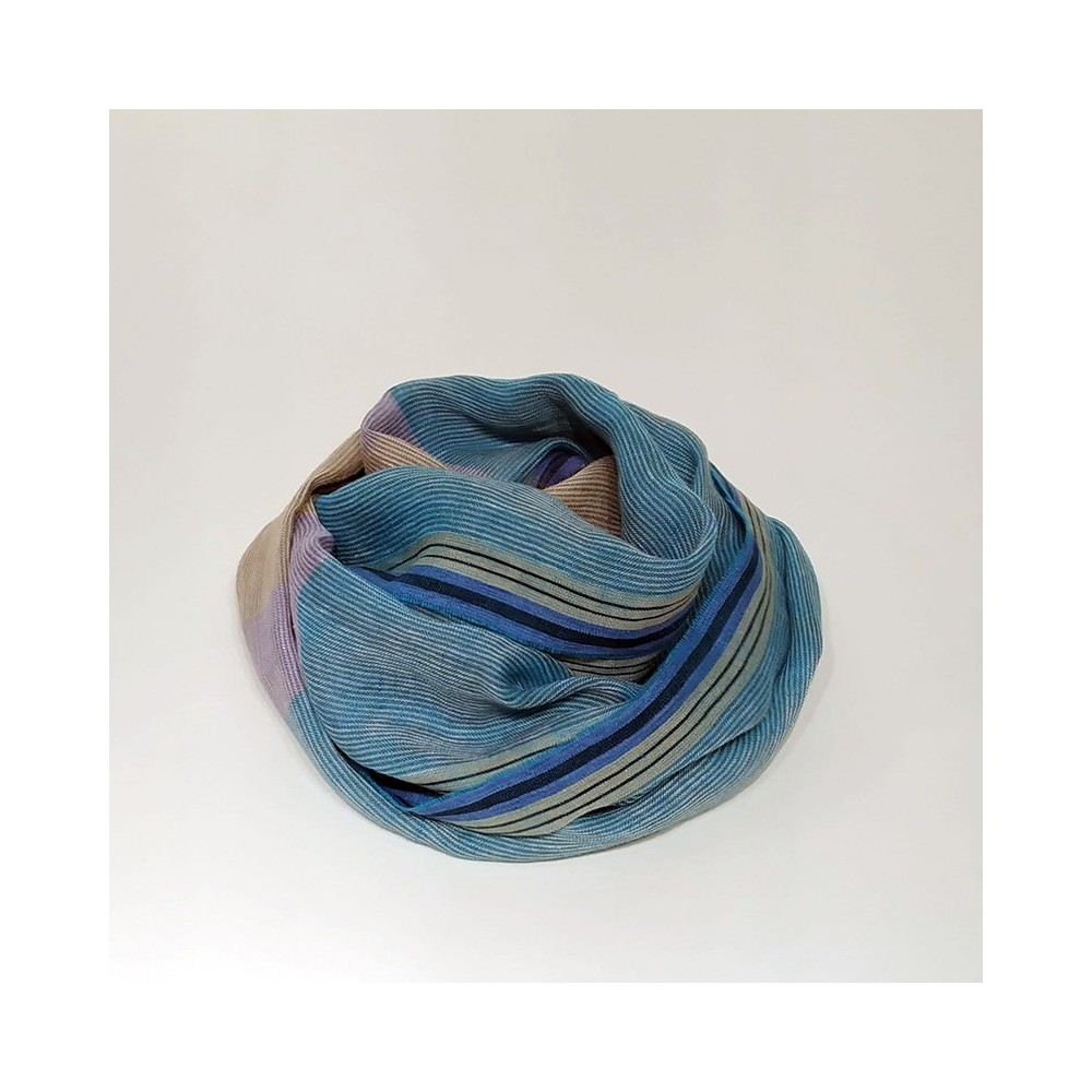 STRIPED SCARF Turquoise/Beige
