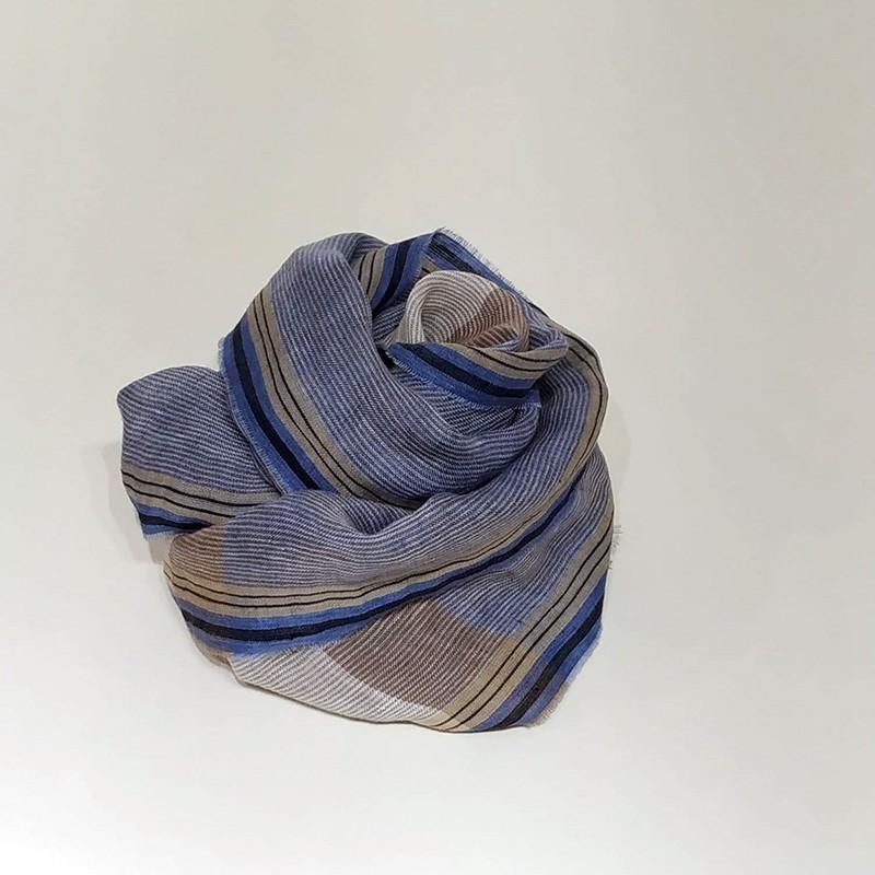 FULAR RAYAS Azul/Beige