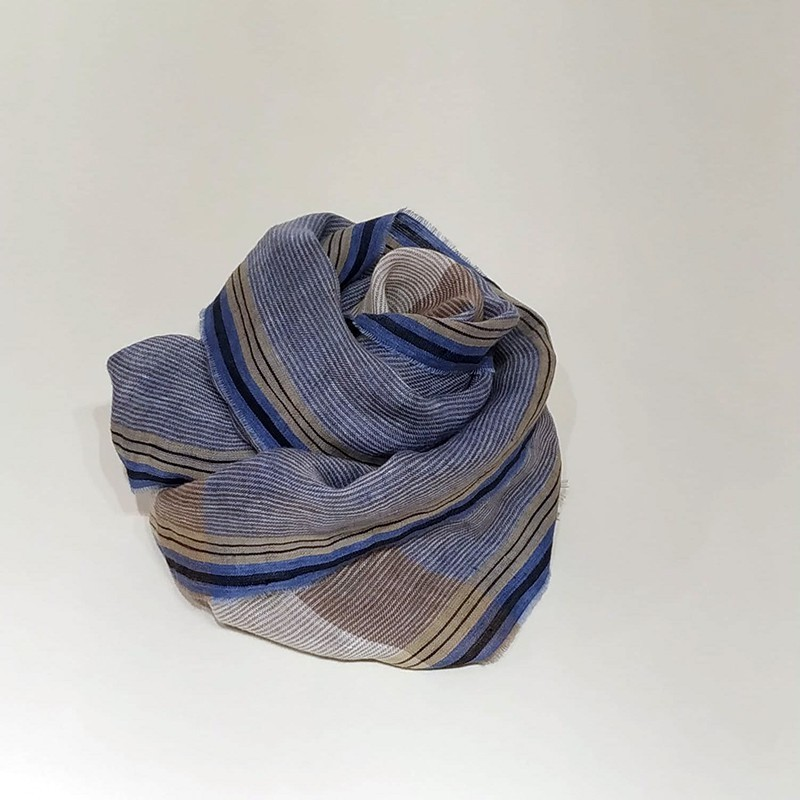 STRIPED SCARF Blue/Beige