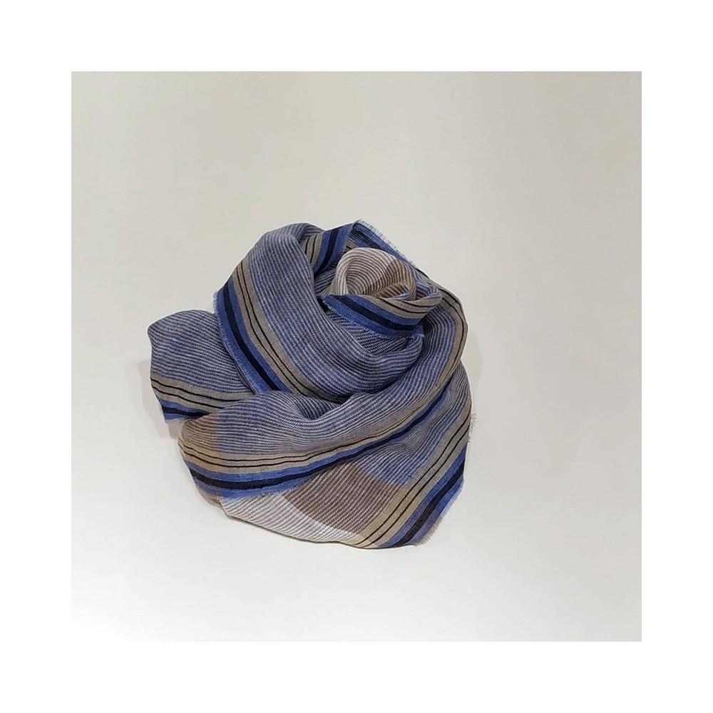 STRIPED SCARF Blue/Beige