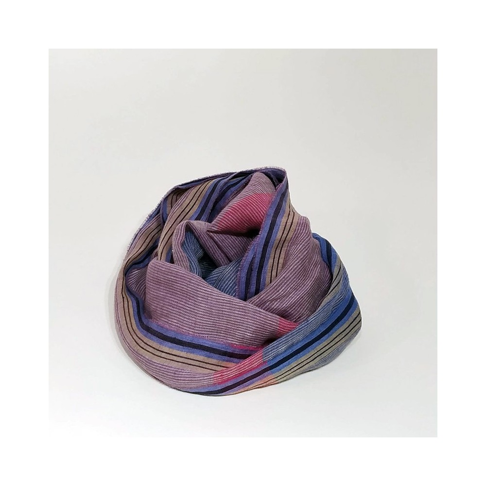 STRIPED SCARF Lillac/Blue