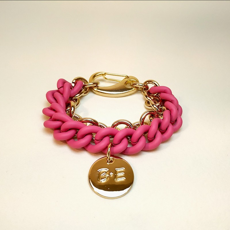 DOUBLE CHAIN BRACELET Pink/Gold Size L