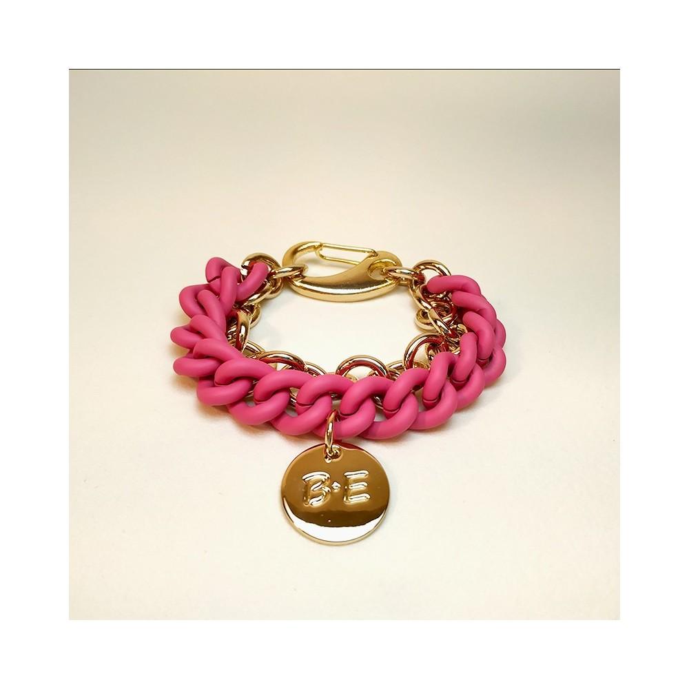 DOUBLE CHAIN BRACELET Pink/Gold Size L