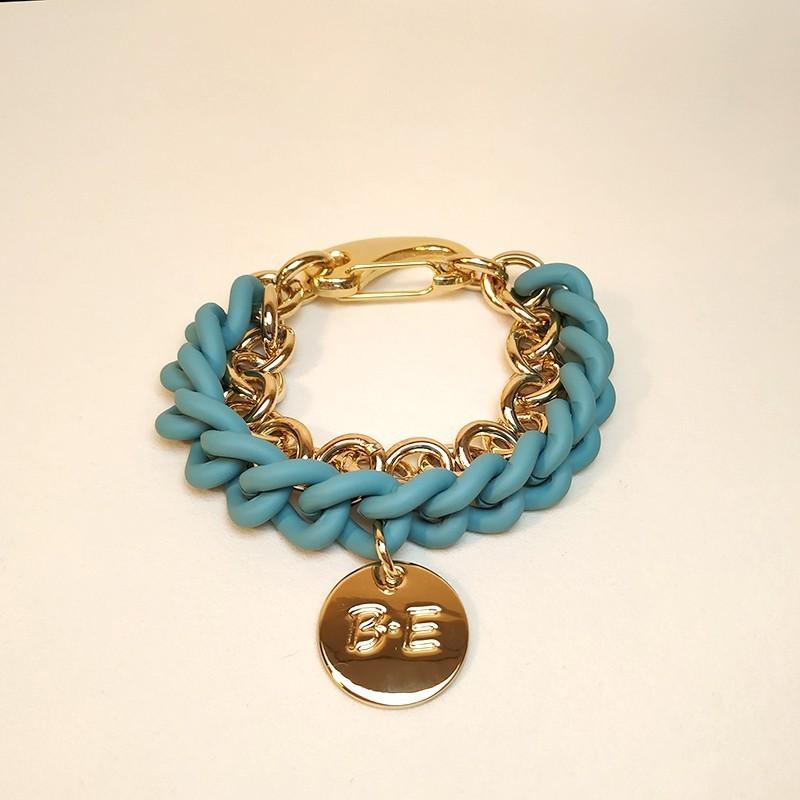 DOUBLE CHAIN BRACELET Turquoise/gold Size L