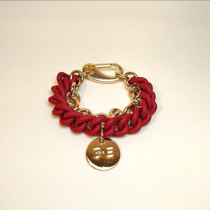 BRAZALETE DOBLE CADENA Rojo/oro