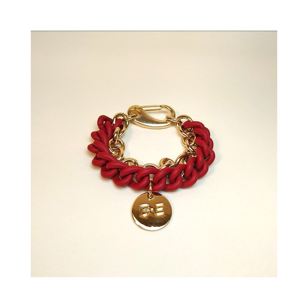 DOUBLE CHAIN BRACELET Red/Gold Size L
