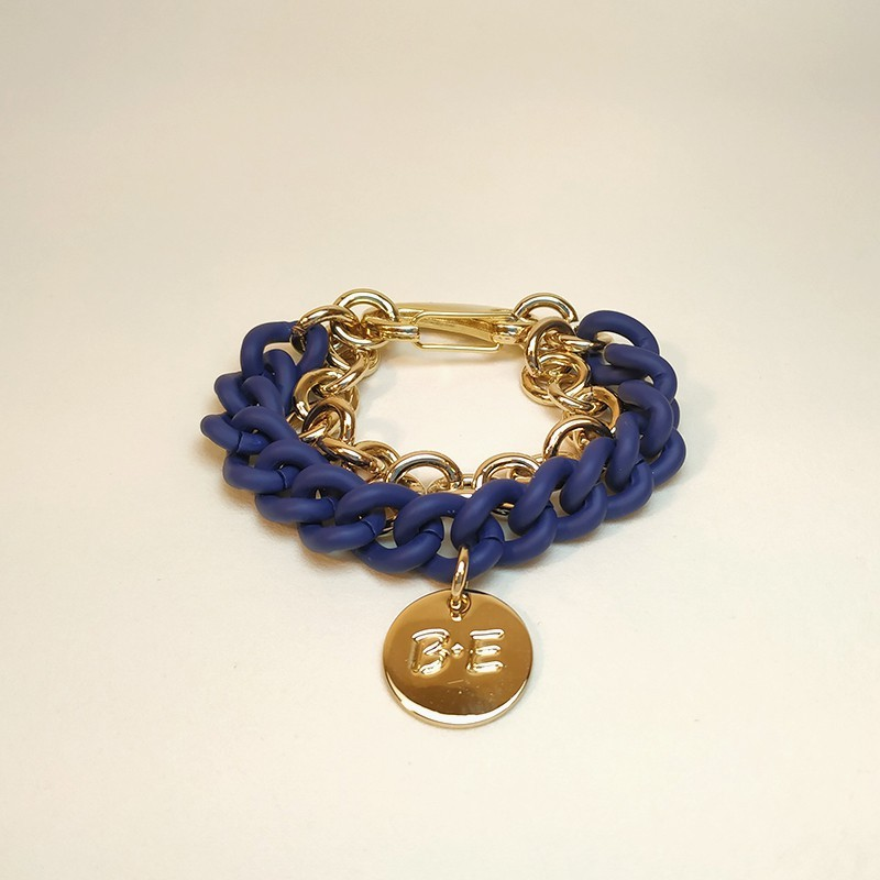 DOUBLE CHAIN BRACELET Blue/Gold Size L