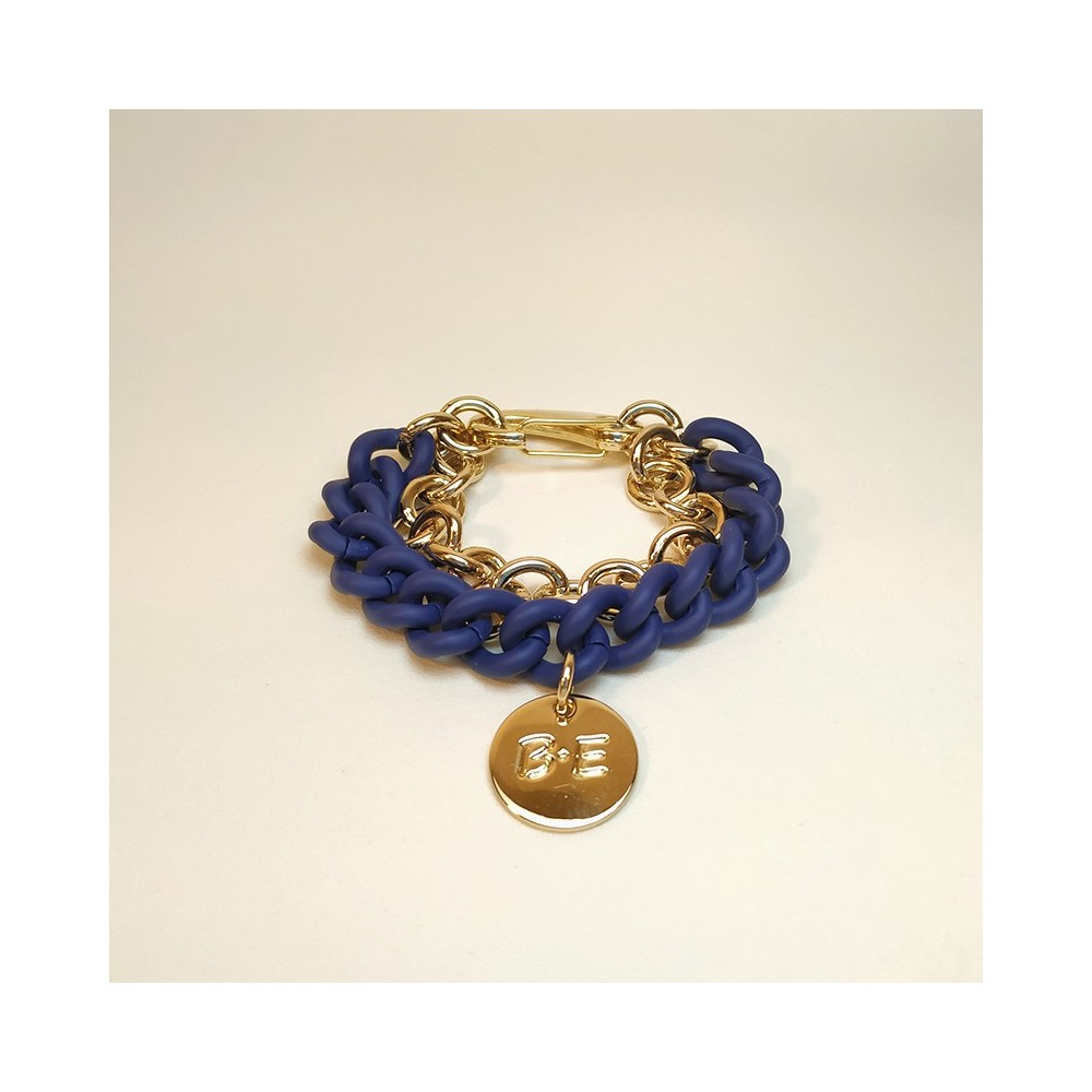 DOUBLE CHAIN BRACELET Blue/Gold Size L