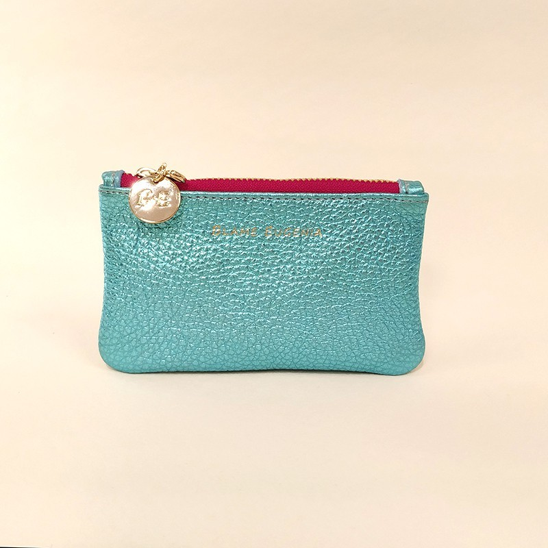 COIN CLUTCH Metallic turquoise
