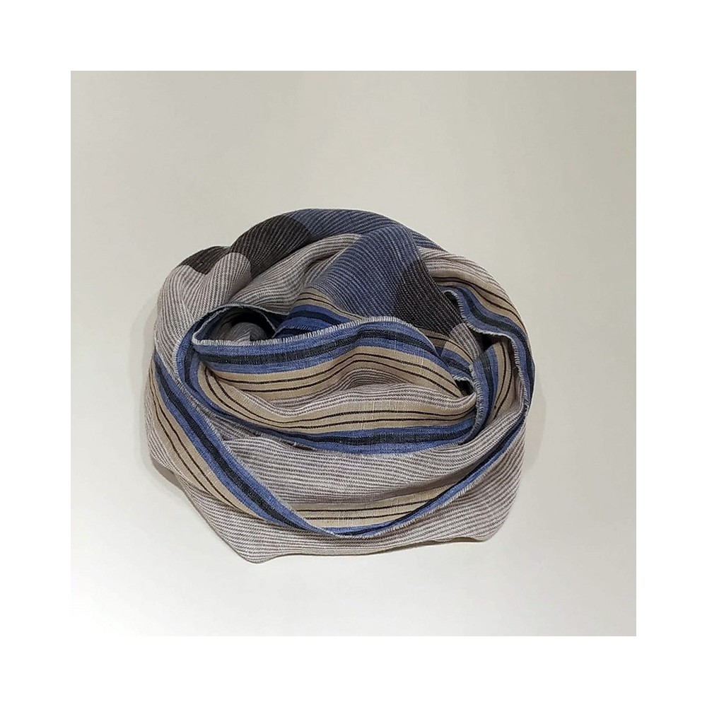 STRIPED SCARF Beige/Blue